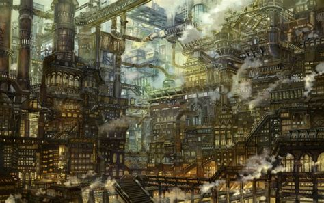 Wallpaper Anime Steampunk City, Industrial, Scenic