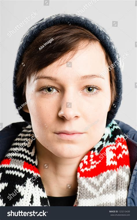 Serious Woman Portrait Real People High Definition Grey