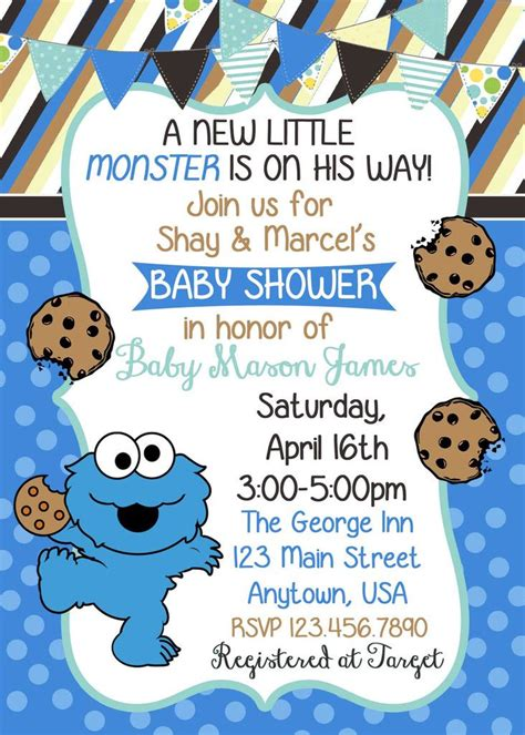 Cookie Monster Polka Dots and Stripes Baby Shower