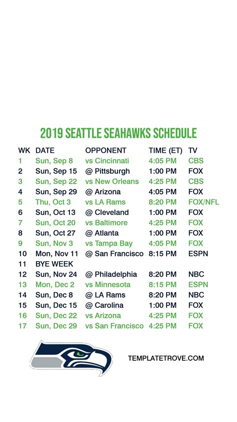 Printable Seahawks Schedule That are Exceptional | Kim Website
