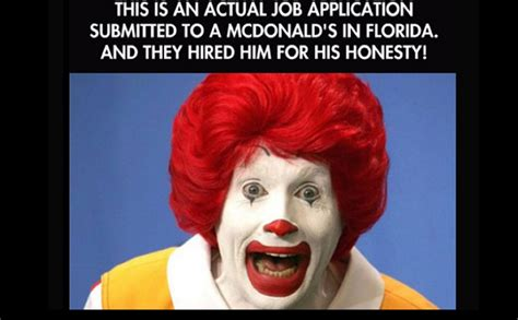 This Is An Actual Job Application Submitted To A McDonalds